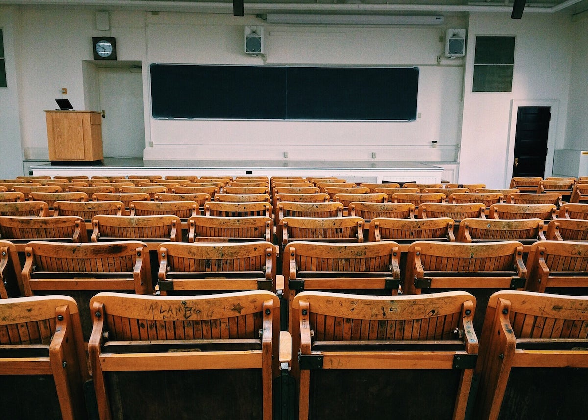 University Lecture Hall for Students with Empty Seats