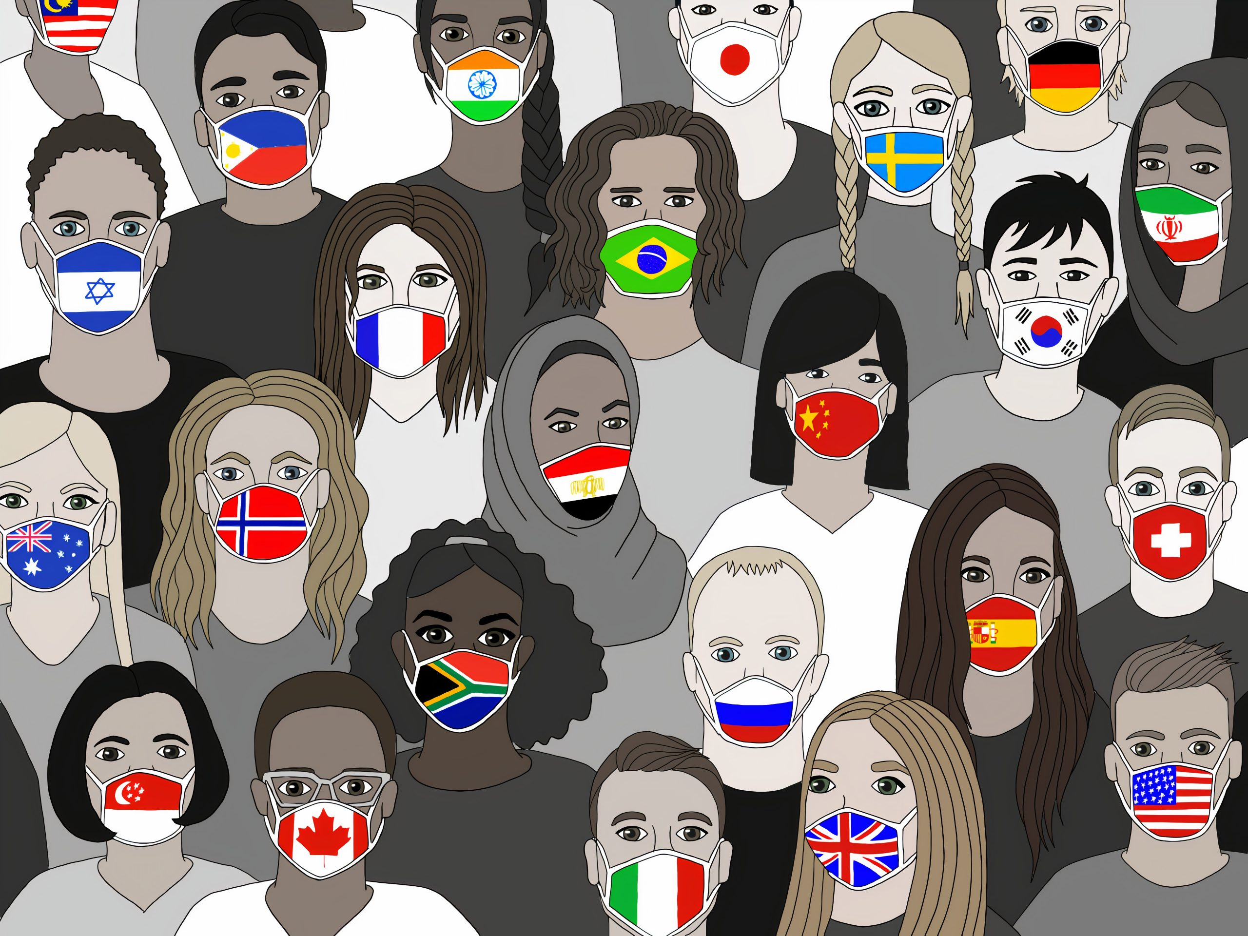 Digital Drawing of people wearing masks with different countries flags on