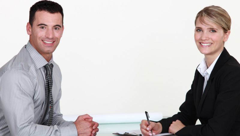 Two people at a job interview